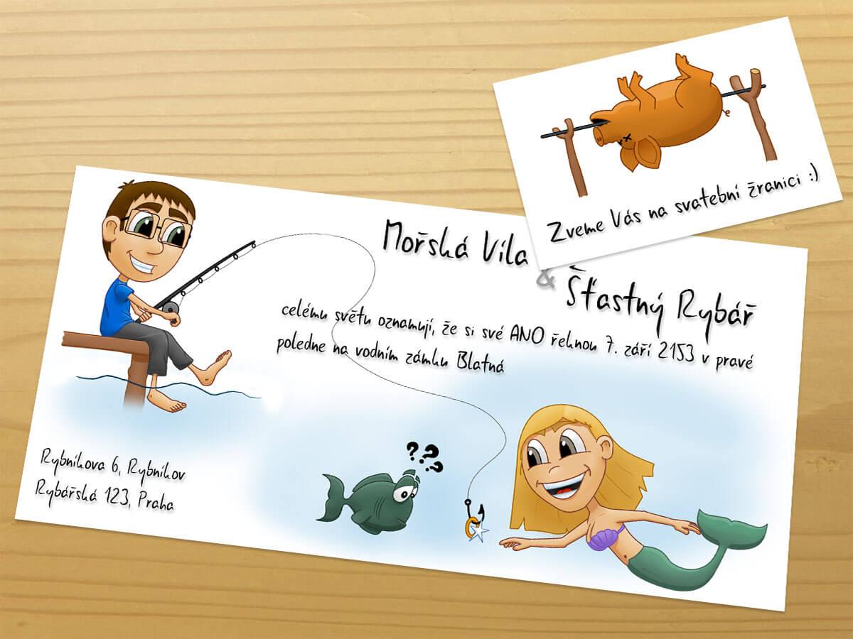Rybářské svatební oznámení